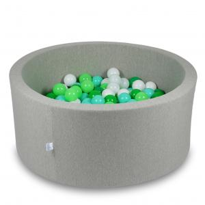 Ball Pit 90x40cm light gray with balls 300pcs (white, celadon, mint, green)